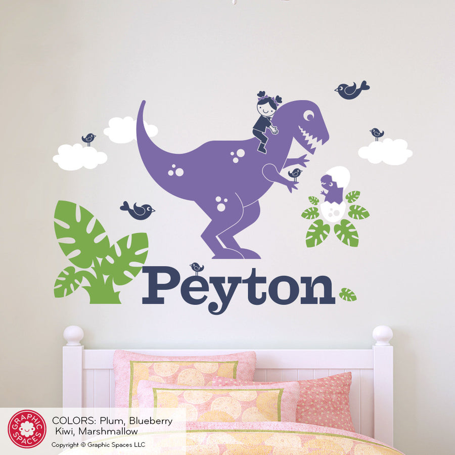 T-Rex Dinosaur Girl Rider Name Wall Decal