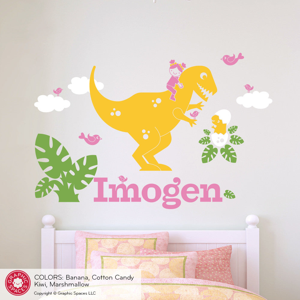 T-Rex Dinosaur Girl Rider Name Wall Decal - Graphic Spaces