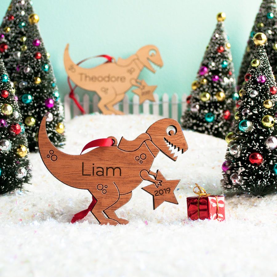 dinosaur christmas ornament personalized t-rex