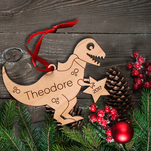 Handmade original t-rex dinosaur Christmas ornament personalized in choice of wood & engraved by Graphic Spaces