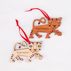 wooden tiger christmas ornament personalized