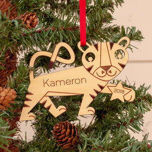 Handmade original jungle safari tiger Christmas ornament personalized in choice of wood & engraved by Graphic Spaces