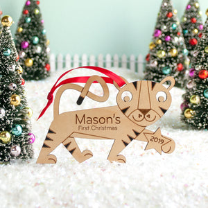 tiger christmas ornament personalized
