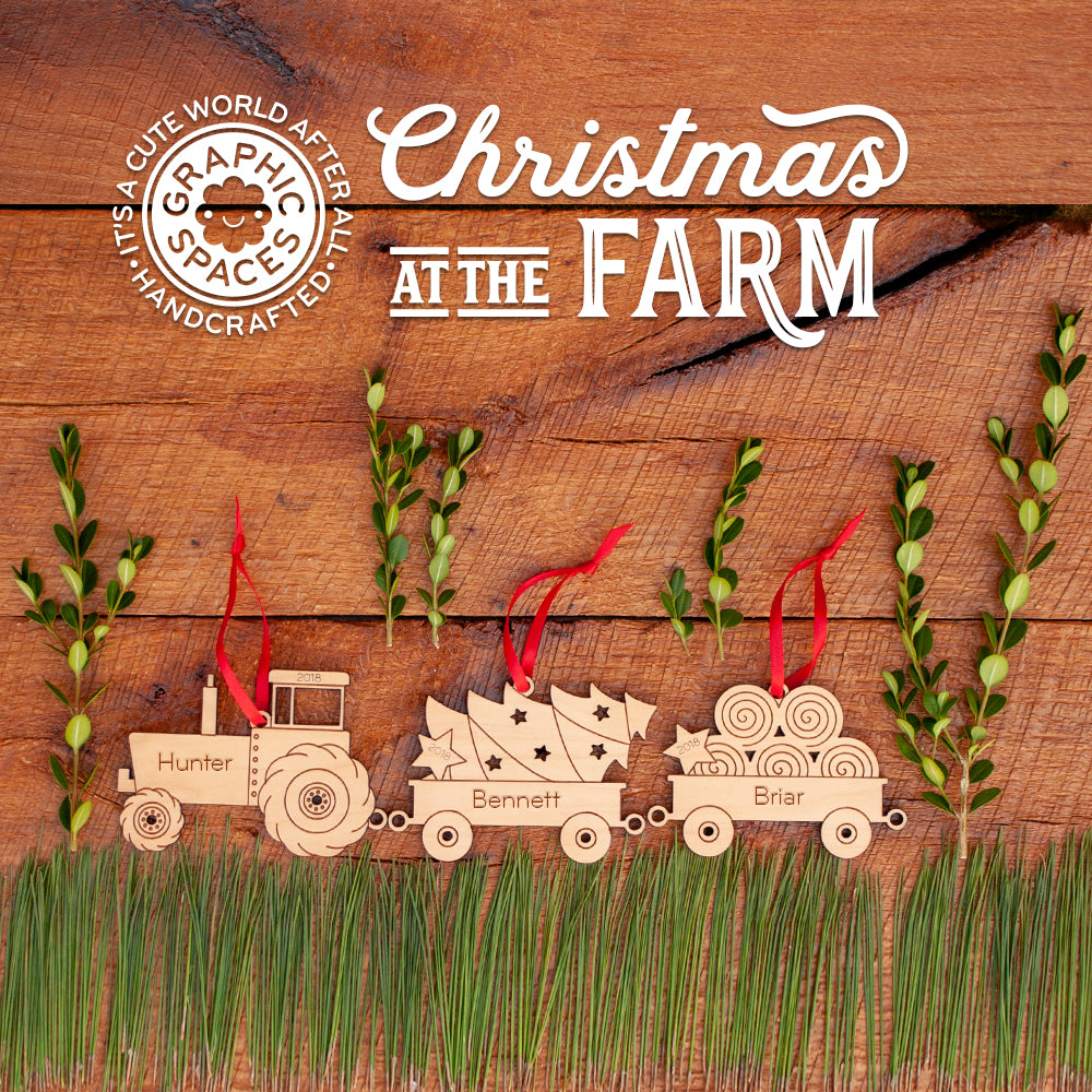 farm tractor and wagon series christmas ornaments personalized