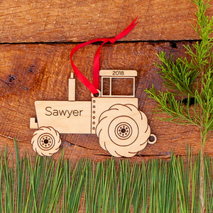 Handmade original farm tractor Christmas ornament personalized & engraved in maple wood by Graphic Spaces