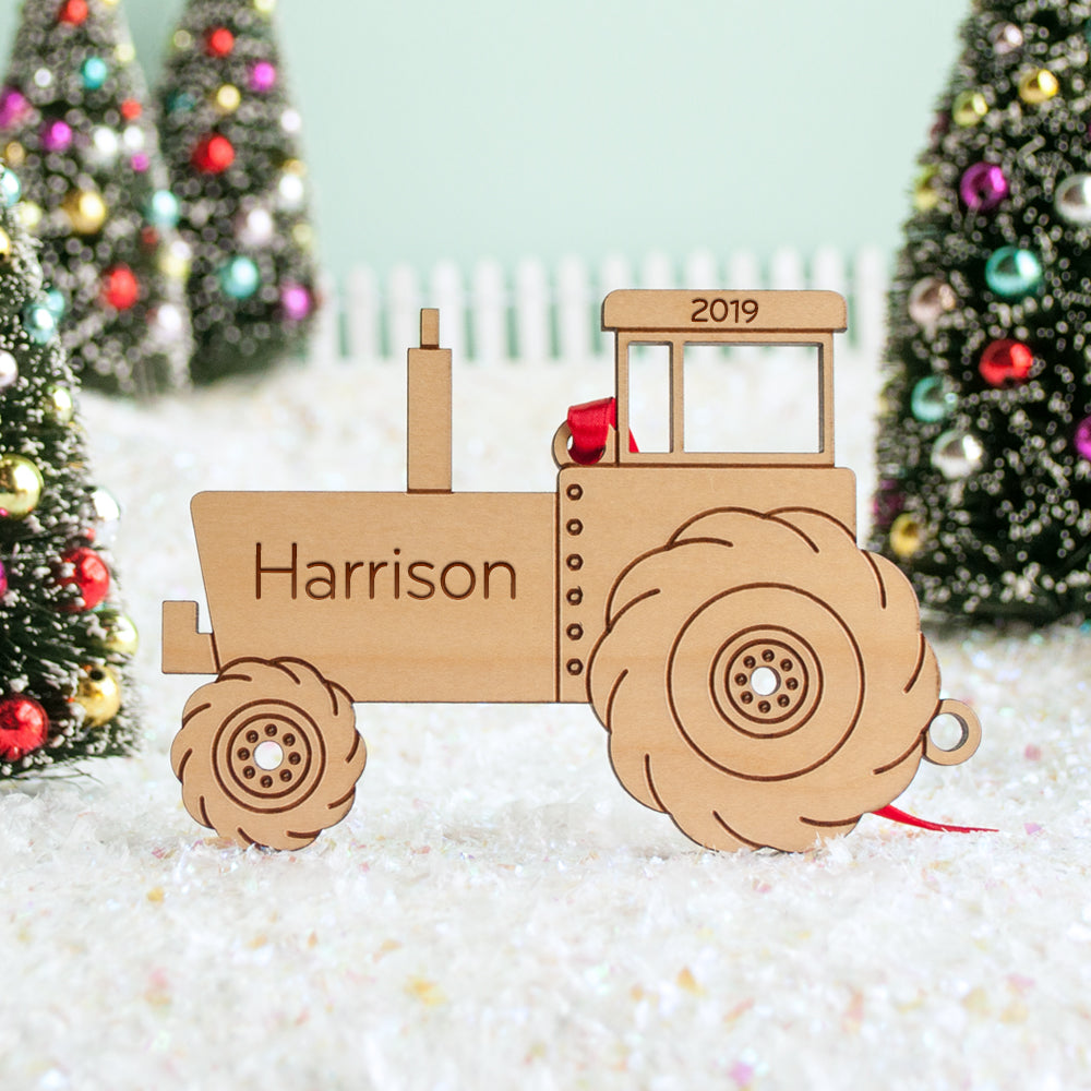 Personalized Farm Tractor Wood Christmas Ornament Graphic Spaces