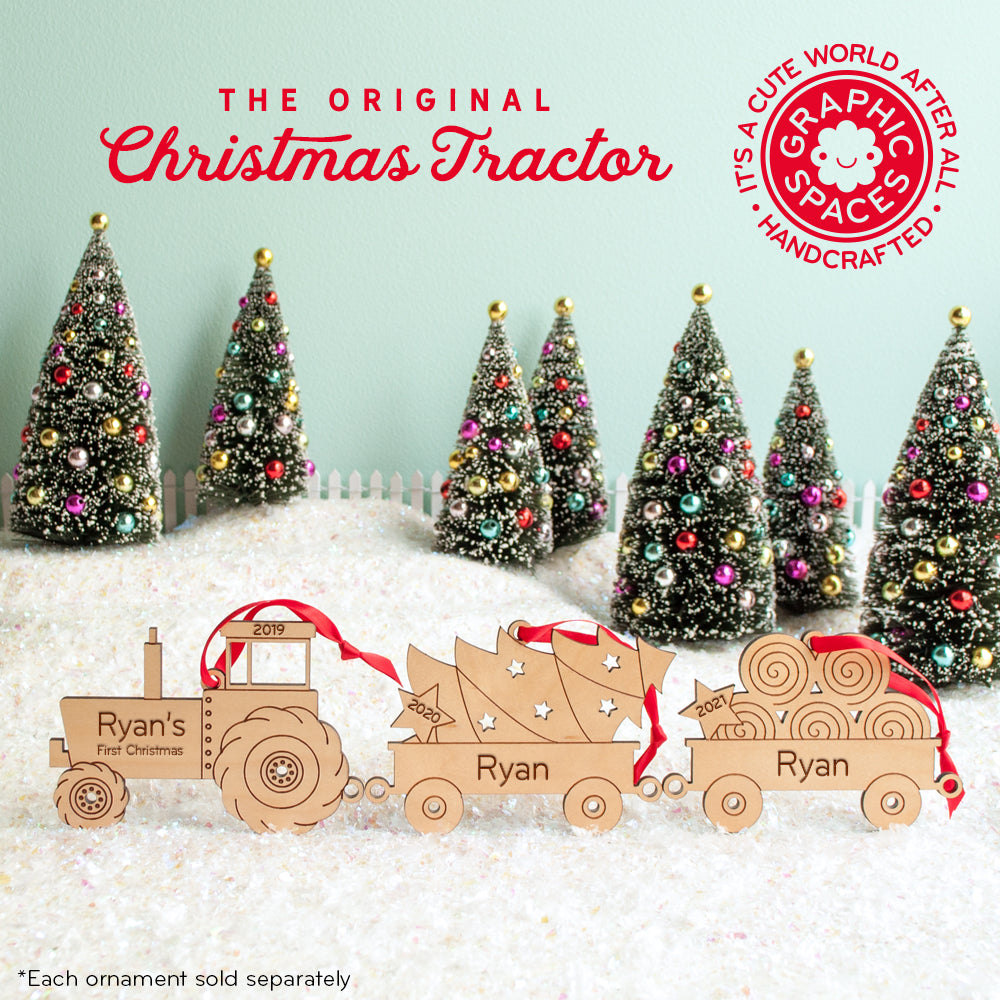 Christmas Ornaments Personalized.Tractor Tree Wagon Wooden Christmas Ornament