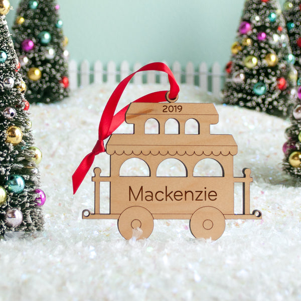 wood train christmas ornament personalized caboose