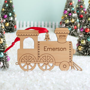 wood train christmas ornament personalized