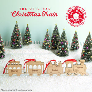 family train Christmas ornament personalized