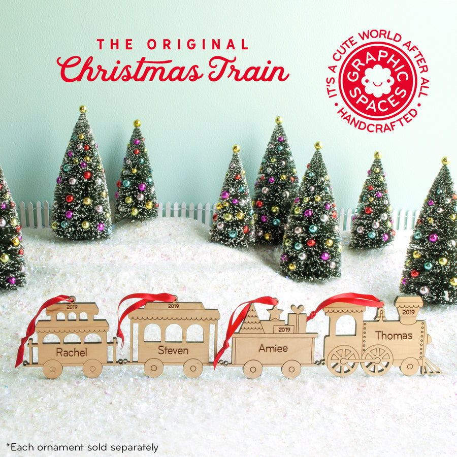 train christmas ornament personalized package car