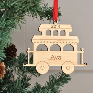Handmade original Christmas Train Caboose ornament personalized & engraved in maple wood by Graphic Spaces
