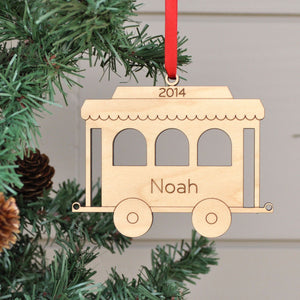 Handmade original Christmas Train Coach Car ornament personalized & engraved in maple wood by Graphic Spaces