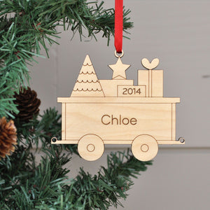 Handmade original Christmas Train Package Car ornament personalized & engraved in maple wood by Graphic Spaces