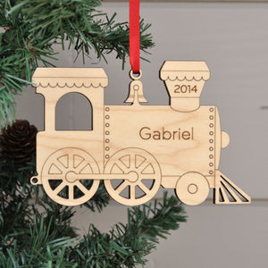 Handmade original Christmas Train Engine ornament personalized & engraved in maple wood by Graphic Spaces