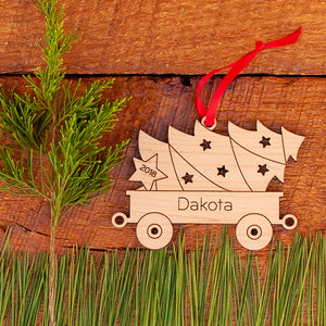 Handmade original tractor tree wagon Christmas ornament personalized & engraved in maple wood by Graphic Spaces