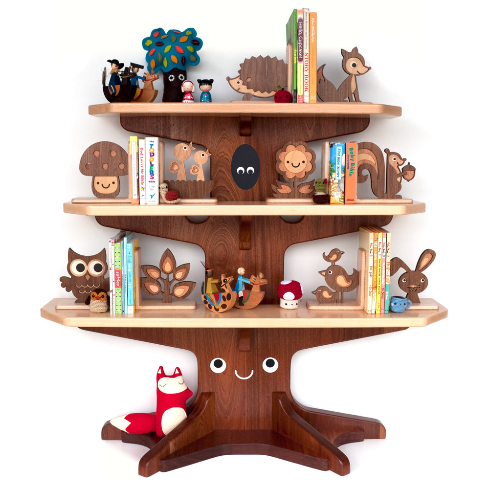 Wooden heirloom Happy Tree Bookshelf with woodland animal bookends handmade by Graphic Spaces