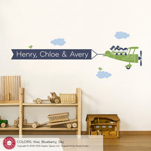 Airplane Banner Wall Decal, Triplet Seat, 3 Kids