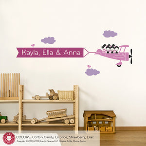 Airplane Triple Seater Banner Wall Decal