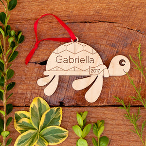 Handmade Personalized Wooden Sea Turtle Christmas Ornament for nautical ocean & coastal beach theme tree by Graphic Spaces