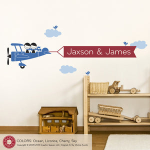 Airplane Banner Wall Decal, 2 Kids Siblings