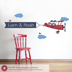 Airplane Twin Seat Banner Wall Decal