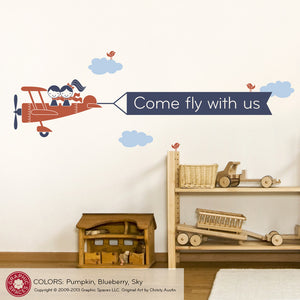Airplane Twin Banner Wall Decal
