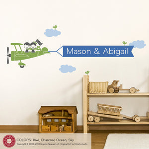 Airplane Twin-Seater Banner Wall Decal