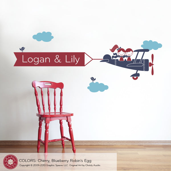 Airplane Banner Wall Decal, Twins