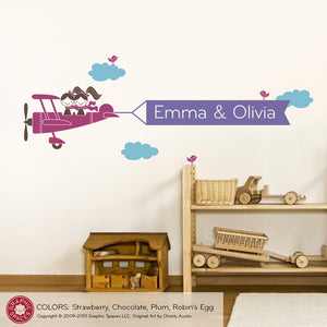 Airplane Twin Seater Banner Wall Decal