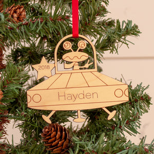 alien ufo christmas ornament personalized