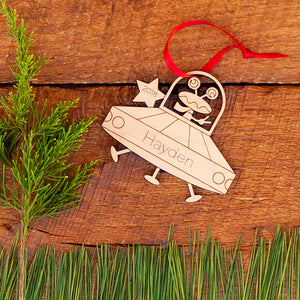 outer space alien ufo christmas ornament personalized