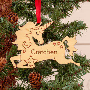 Unicorn Wooden Christmas Ornament