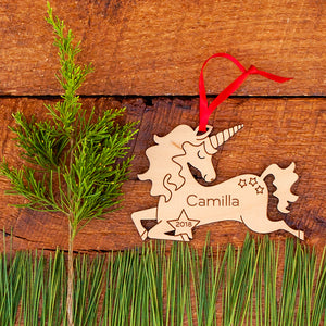 Handmade original wooden fairy tale unicorn Christmas ornament personalized & engraved by Graphic Spaces