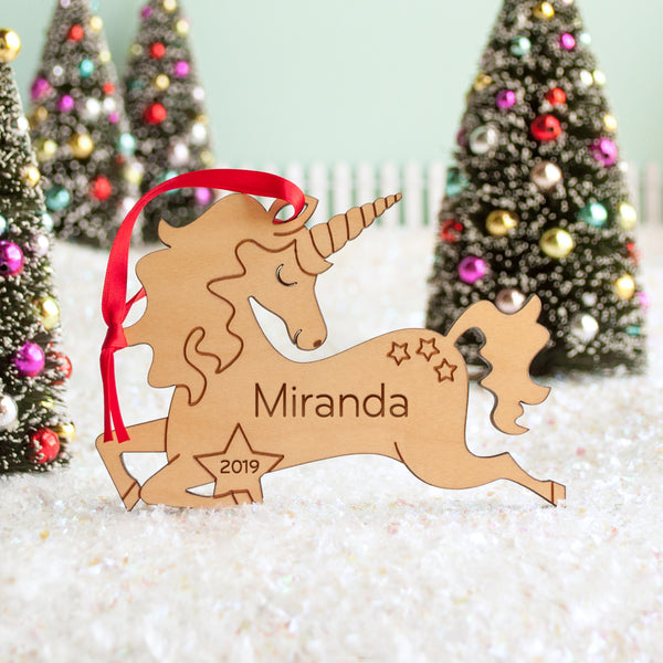 unicorn Christmas ornament personalized