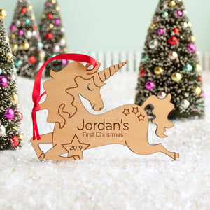 unicorn Christmas ornament personalized with name