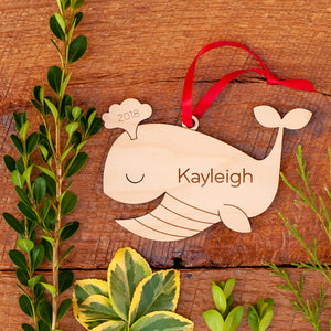 Handmade original wooden nautical whale Christmas ornament personalized & engraved by Graphic Spaces