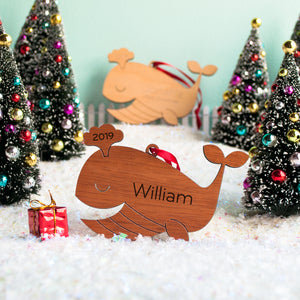 whale christmas ornament personalized
