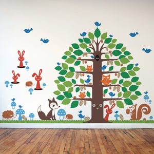 Nursery Happy Tree Wall Decal & Animal Wall Decals Collection