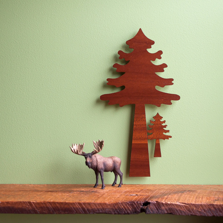 Woodland Pine Tree Wooden Wall Hanging