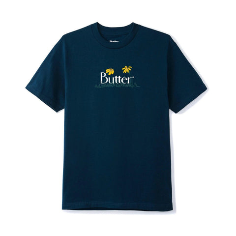 Butter Goods - Flowers Classic Logo T-Shirt (Navy)