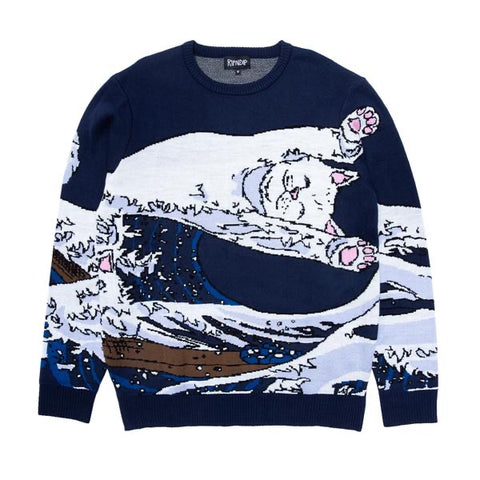 RIPNDIP - Great Wave Sweater (Navy)