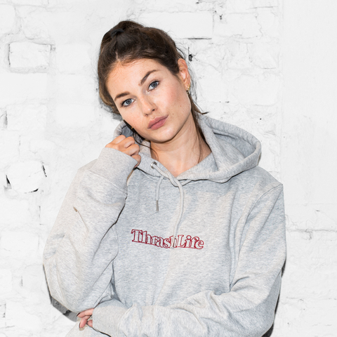 ThrashLife - Classic Outline Logo Hoodie (Heather Grey - Burgundy)