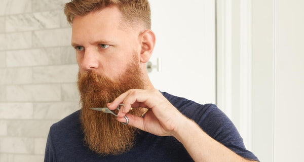 Eric Bandholz is using Beardbrand Beard Trimming Scissors to maintain the length of his beard.
