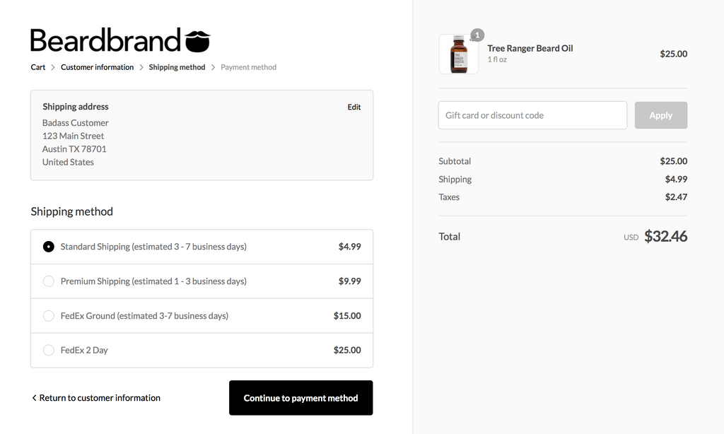 Beardbrand checkout shipping option