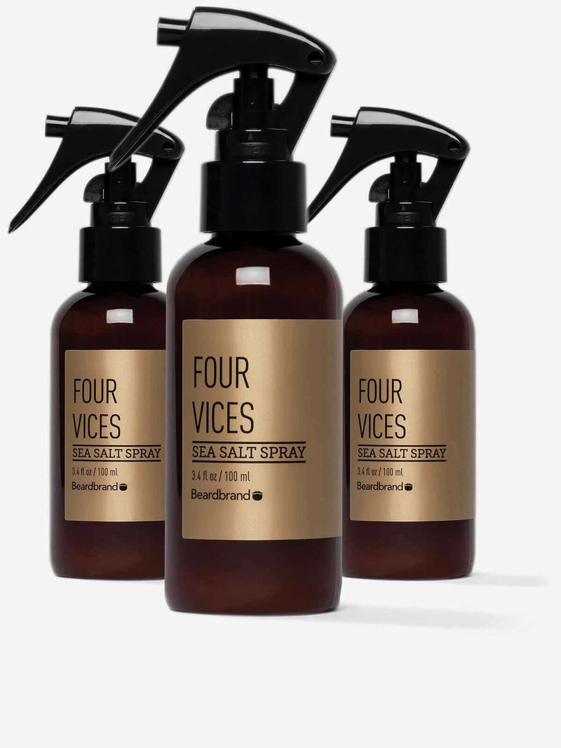 Three bottles of Beardbrand Four Vices Sea Salt Spray.