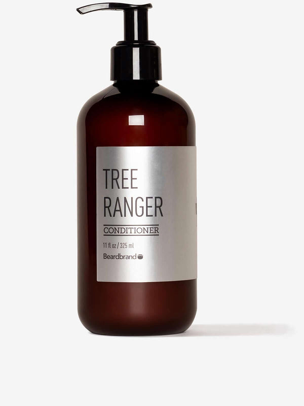 A bottle of Beardbrand Tree Ranger Conditioner on a striking gray background.