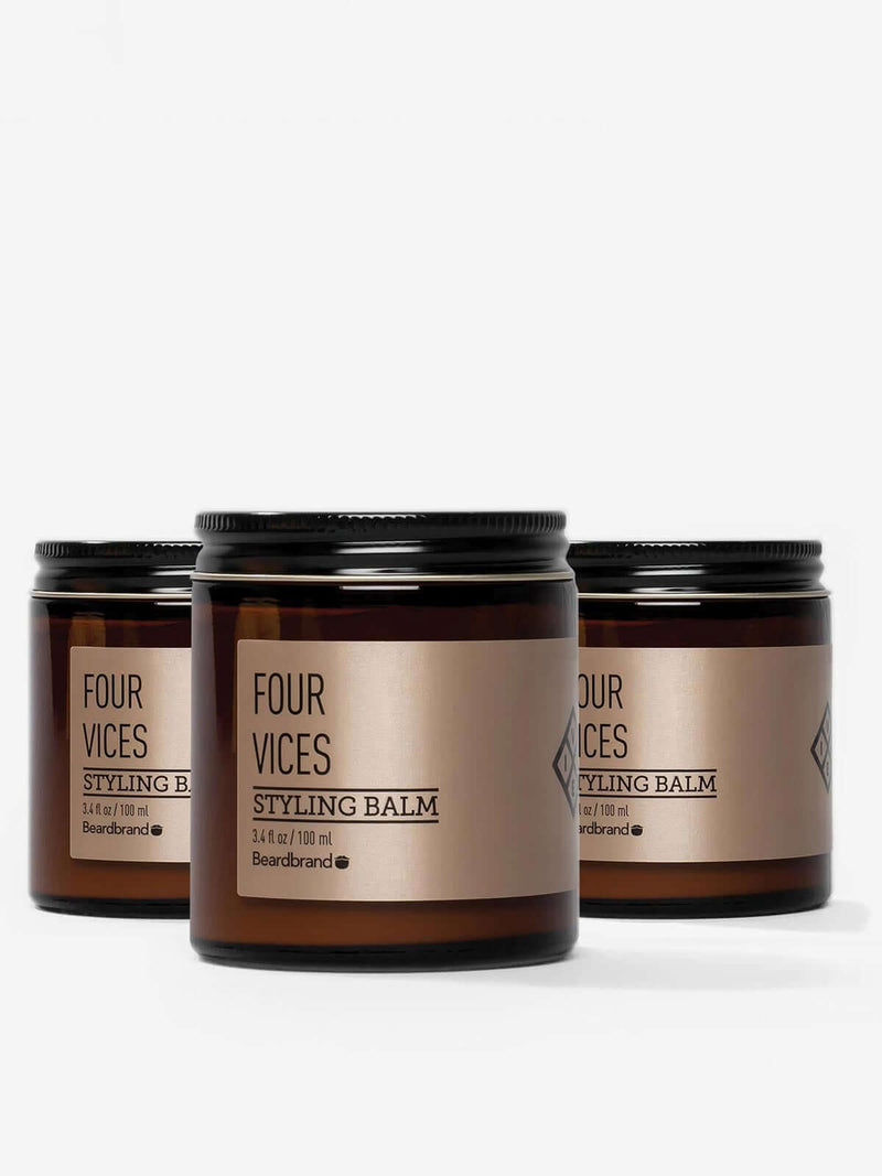 Three jars of Beardbrand Four Vices Styling Balm.