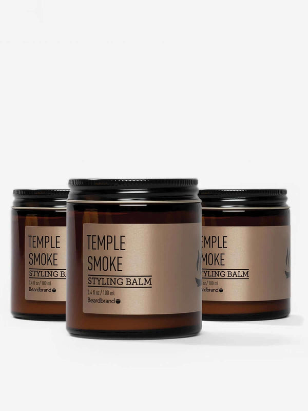Three jars of Beardbrand Temple Smoke Styling Balm.