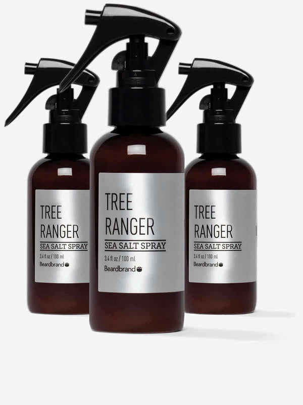 Three bottles of Beardbrand Tree Ranger Sea Salt Spray.